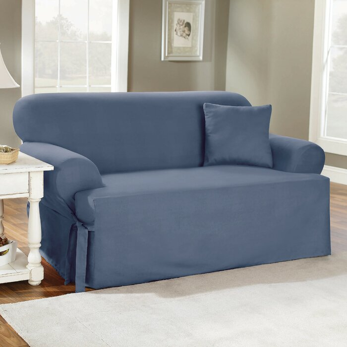 Sure Fit Cotton Duck T Cushion Sofa Slipcover & Reviews