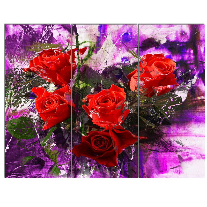 Designart Five Red Roses Abstract Background 3 Piece Graphic Art On Wrapped Canvas Set Wayfair
