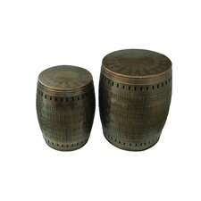 2 Piece Multiple Purpose Hand Tooled Shaped Metal Stool Set by Saffron Fabs