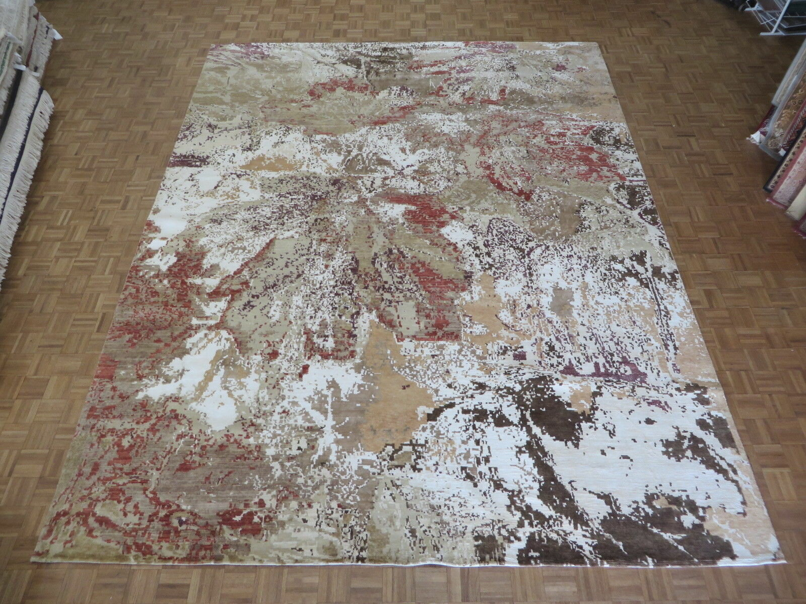 One Of A Kind Dreher Modern Abstract Tan Hand Knotted 12 X 15 1 Wool Silk Beige Ivory Area Rug