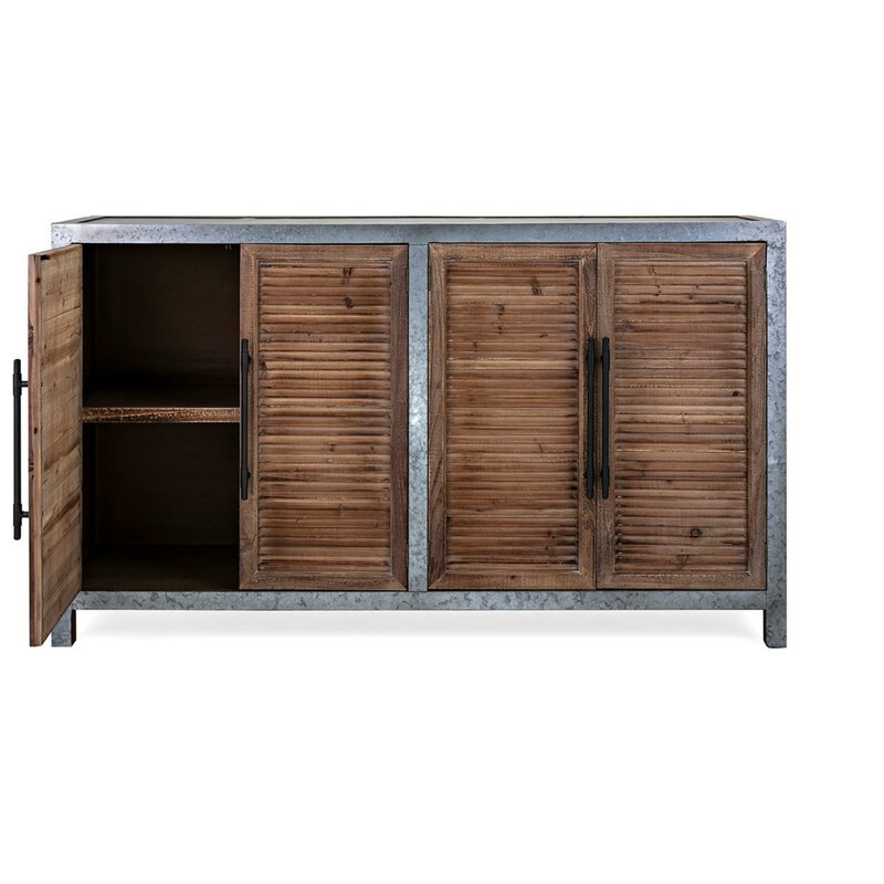 Genial Varvara Wood And Metal Sideboard With Four Louvered Cabinet Doors, Gray And  Brown
