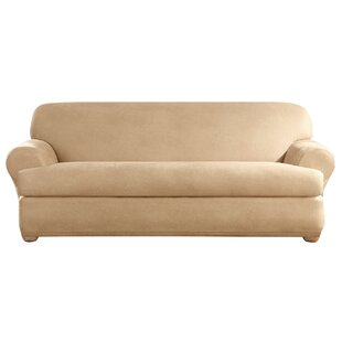 Stretch Leather T-Cushion Sofa Slipcover