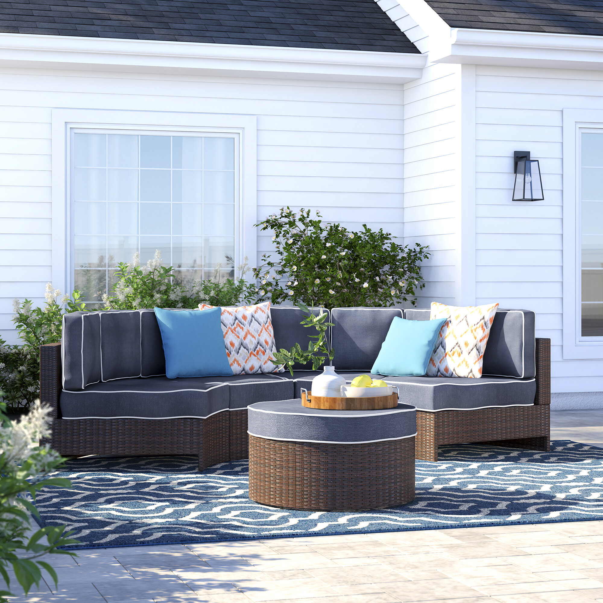 Sol 72 Outdoor Bermuda 5 Piece Rattan Sectional Seating Group With Cushions Wayfair