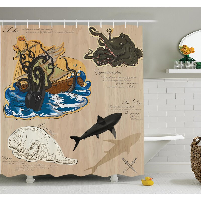 Nautical Sea Monsters Pirate Shower Curtain Set
