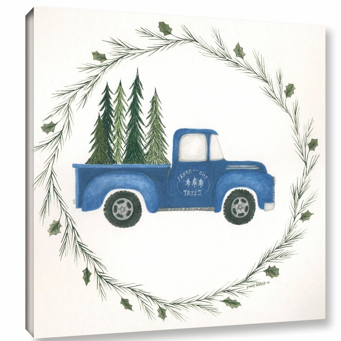 Old Truck With Christmas Tree Painting.Old Blue Truck Painting Print On Wrapped Canvas