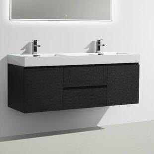 Leni 59 Wall-Mounted Double Bathroom Vanity Set by Orren Ellis