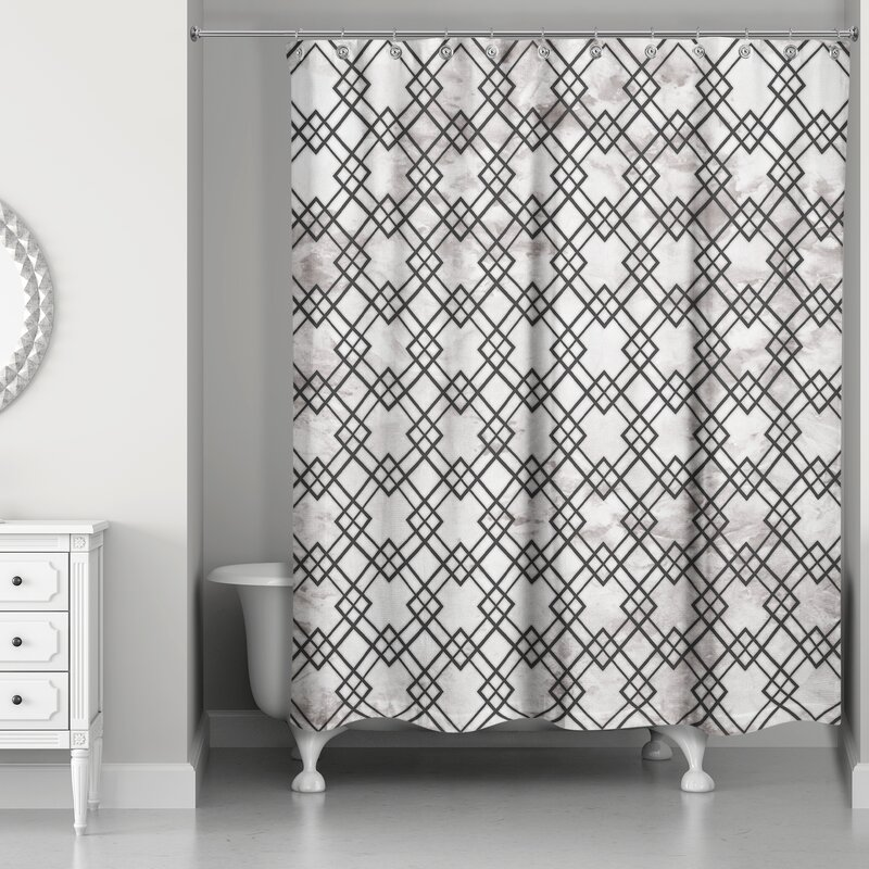 Nunez Geometric Marble Shower Curtain