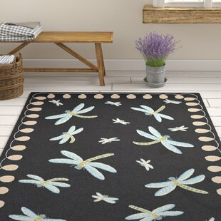 Calderon Dragonfly Hand-Tufted Black Indoor/Outdoor Area Rug