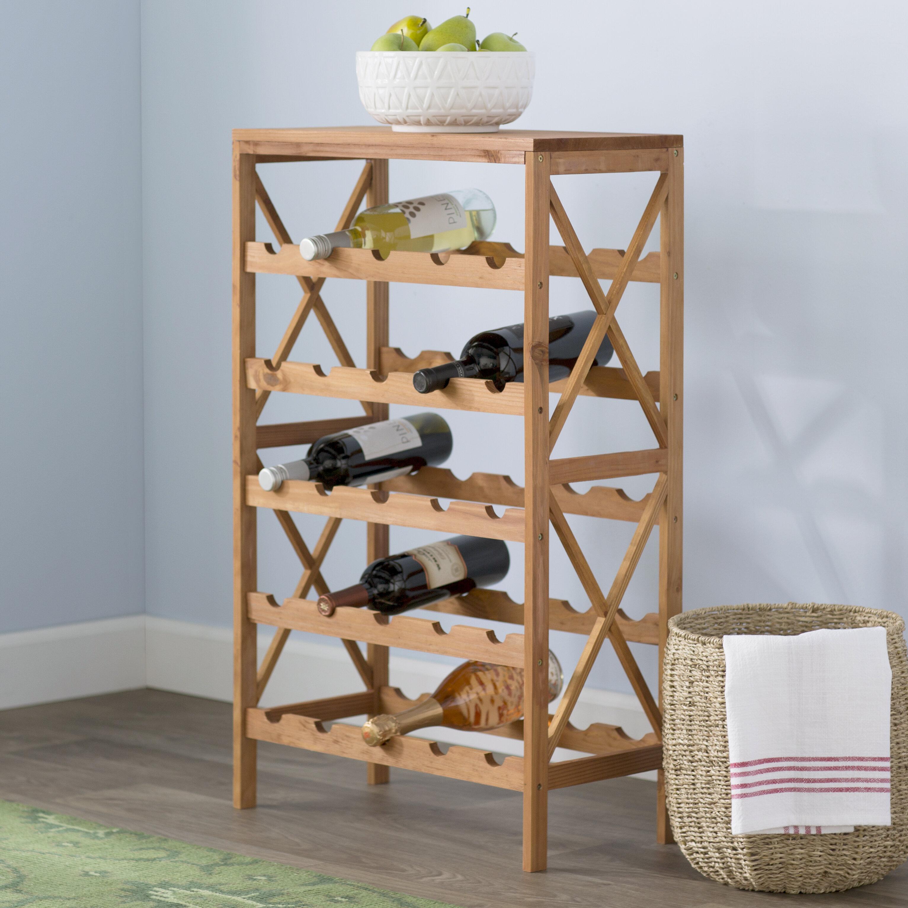 US-W Rustic Wood Countertop Wine Rack 6 Bottles Family bar Can store wine rack