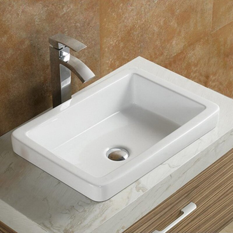 Ceramic Rectangular Drop In Bathroom Sink