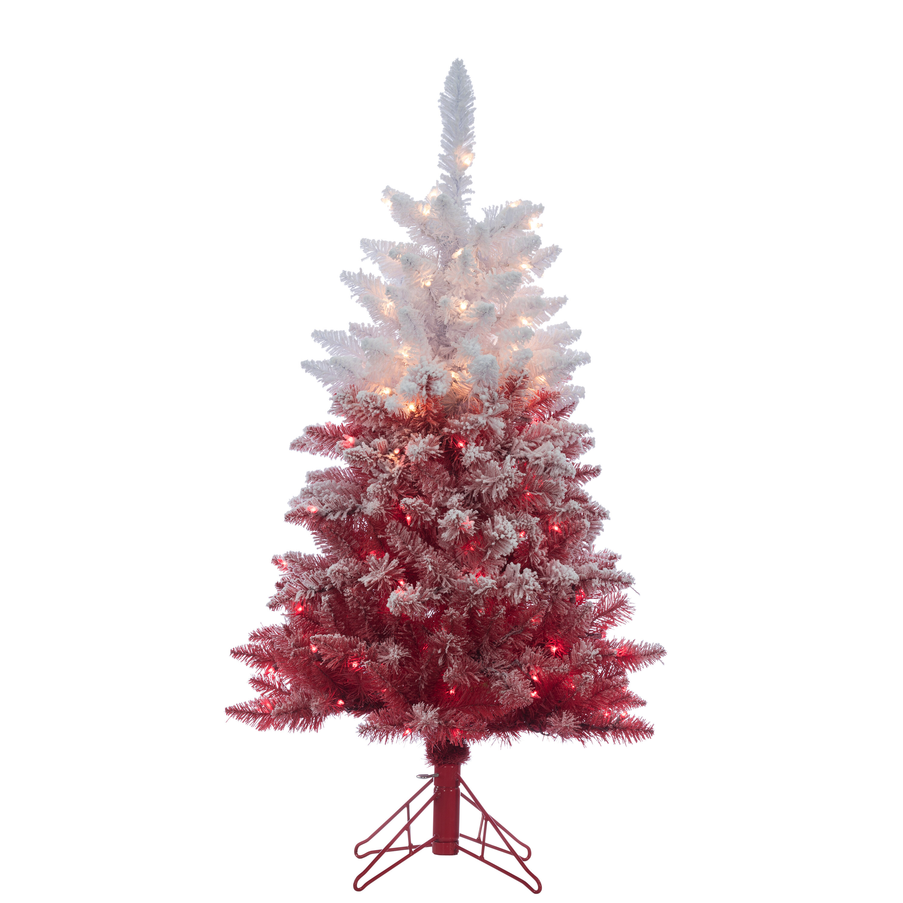 the holiday aisle flocked red artificial christmas tree clear white lights with stand wayfair - Christmas Tree With White Lights And Red Decorations