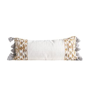 Kerner Handwoven with Tassels Wool Lumbar Pillow