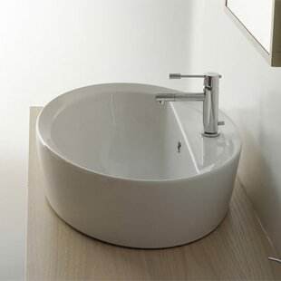 Low priced Matty Ceramic Oval Vessel Bathroom Sink with Overflow By Scarabeo by Nameeks