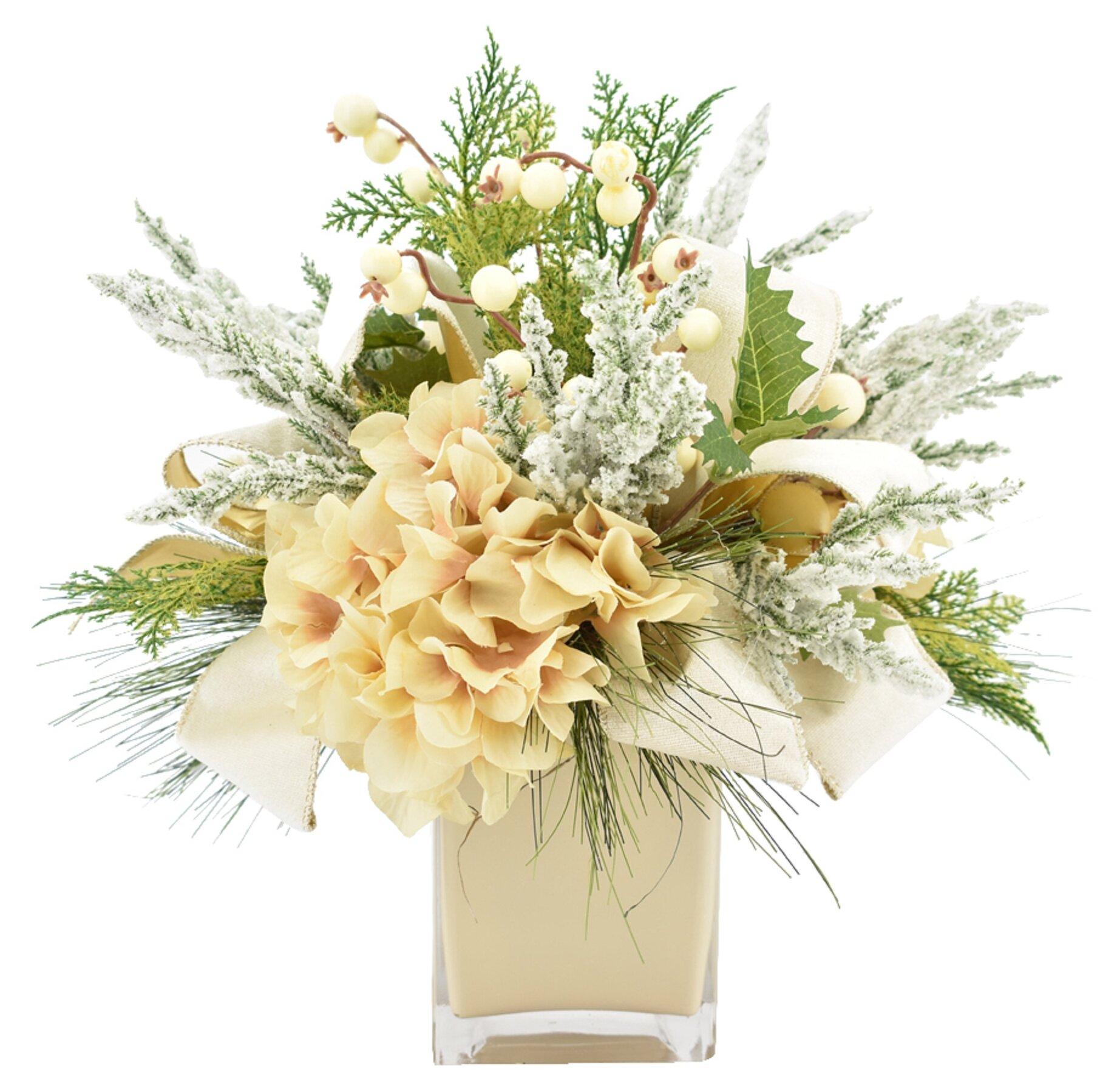 Holiday Hydrangea Floral Arrangement In Vase Reviews Birch Lane