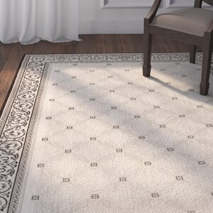 Beasley Ivory/Black Border Outdoor Rug
