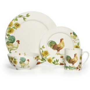 Rooster Meadow 16 Piece Dinnerware Set Service for 4  sc 1 st  Wayfair : chicken design dinnerware - pezcame.com