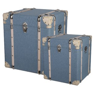2 Piece Blue Decorative Storage Cube Set