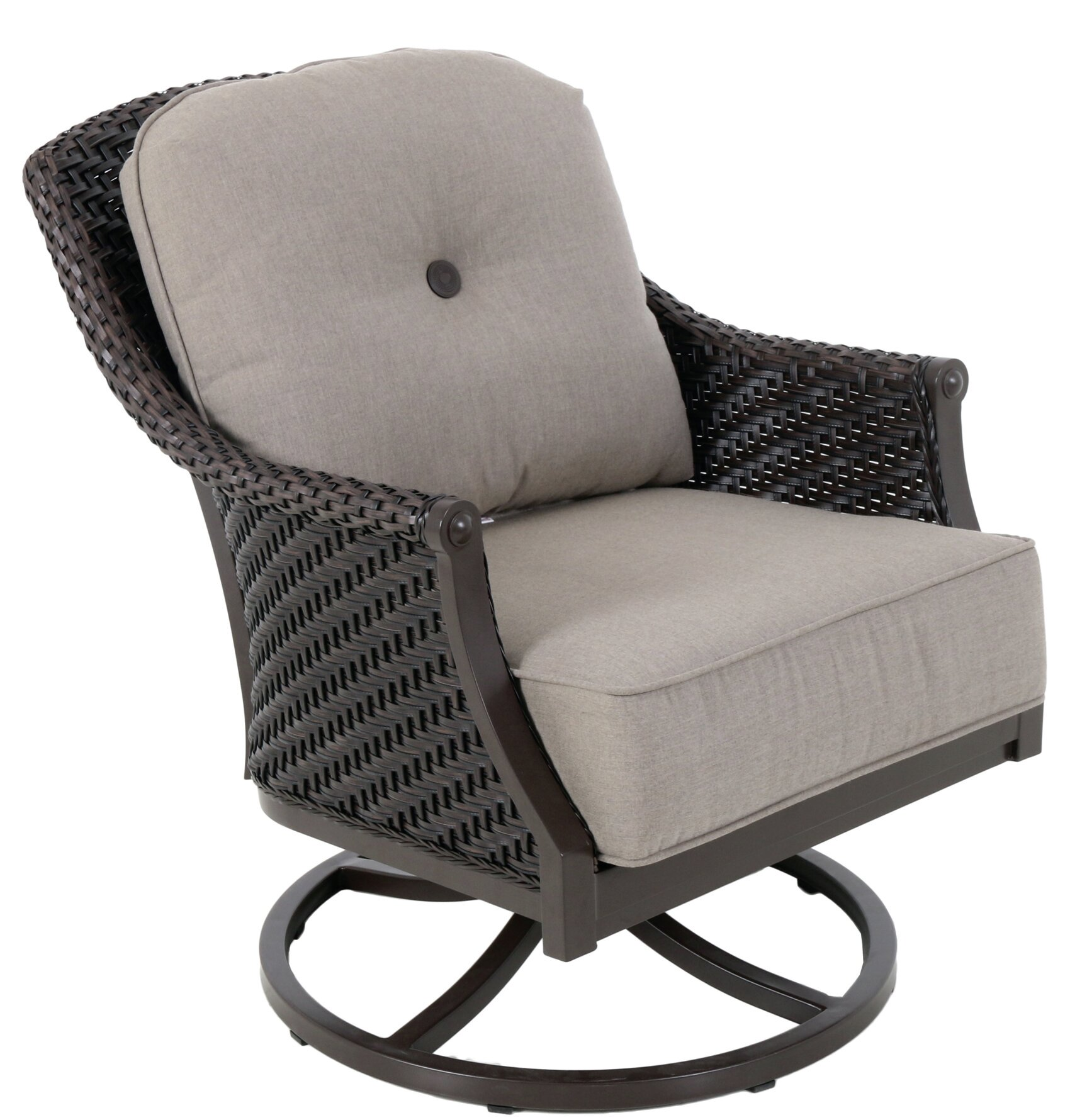 red barrel studio kanzler aluminum outdoor wicker swivel lounge