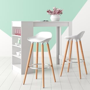 Smythe ABS Breakfast Wooden Leg 29 Bar Stool (Set of 2) by Hashtag Home
