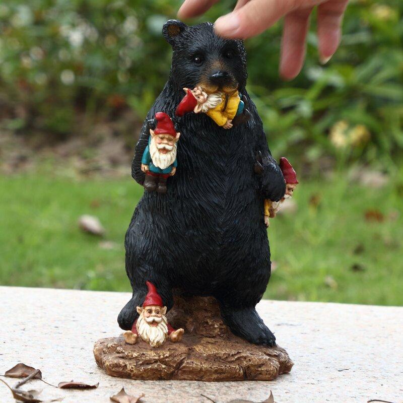 Resin Naughty Black Bear Eating Garden Gnomes Figure Indoor Outdoor Sculpture
