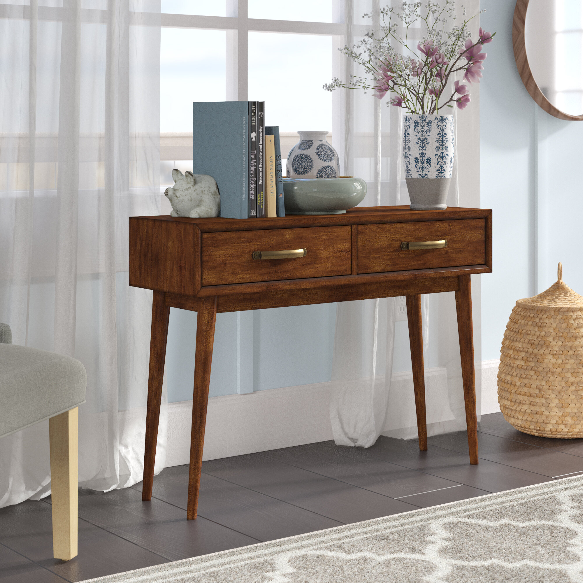 George oliver ripton mid century modern console table reviews wayfair