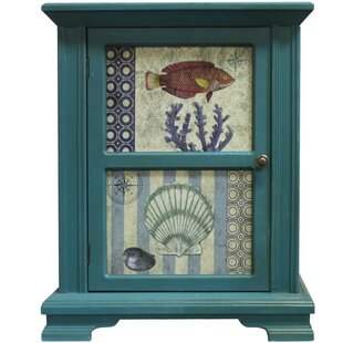 Ocean Fish and Shells Two-Paneled Wooden 1 Door Accent Cabinet by ESSENTIAL D?COR & BEYOND, INC