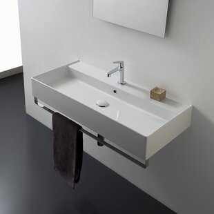 Teorema Ceramic 48 Wall Mount Bathroom Sink with Overflow By Scarabeo by Nameeks
