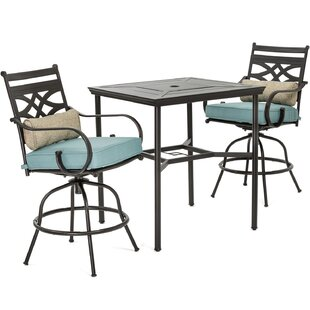Kautz 3 Piece Bar Height Dining Set with Cushions