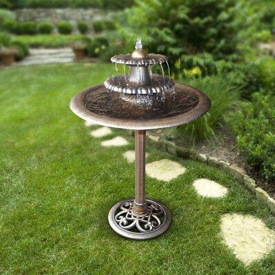 Alpine Corporation Resin 3-Tiered Vintage Pedestal Water Fountain and Bird Bath, Green Alpine