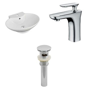 Ceramic 23 Bathroom Sink with Faucet and Overflow