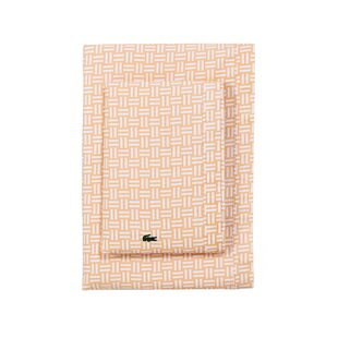 Iced Apricot Basketweave Percale Printed 100% Cotton Sheet Set