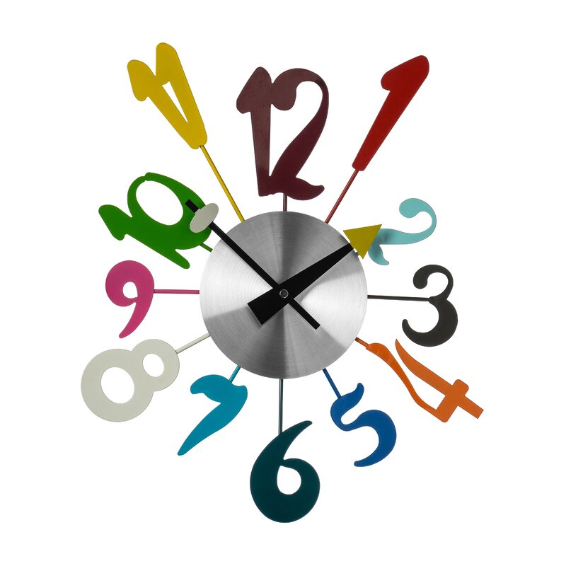 All Home Funky Numbers Wall Clock amp Reviews Wayfaircouk