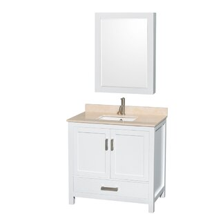 Sheffield 36 inch  Single White Bathroom Vanity Set with Medicine Cabinet