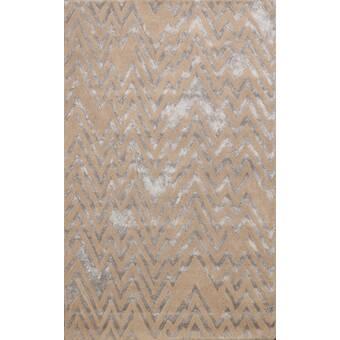 Loon Peak Mier Handmade Tufted Wool Silk Gray Light Brown Rug Wayfair