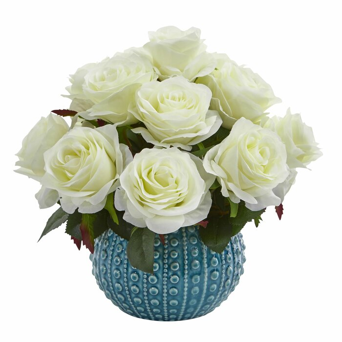Bungalow Rose Rose Artificial Floral Arrangement In Ceramic Vase