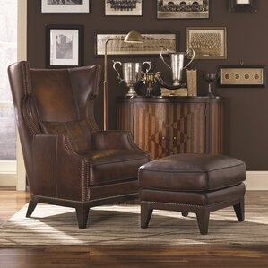 Martin Hill Wingback Chair and Ottoman by Loon Peak