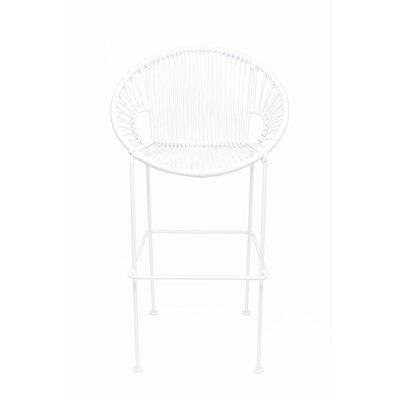 Brayden Studio Croft Counter 26 Patio Bar Stool Frame Color: White, Seat Color: White