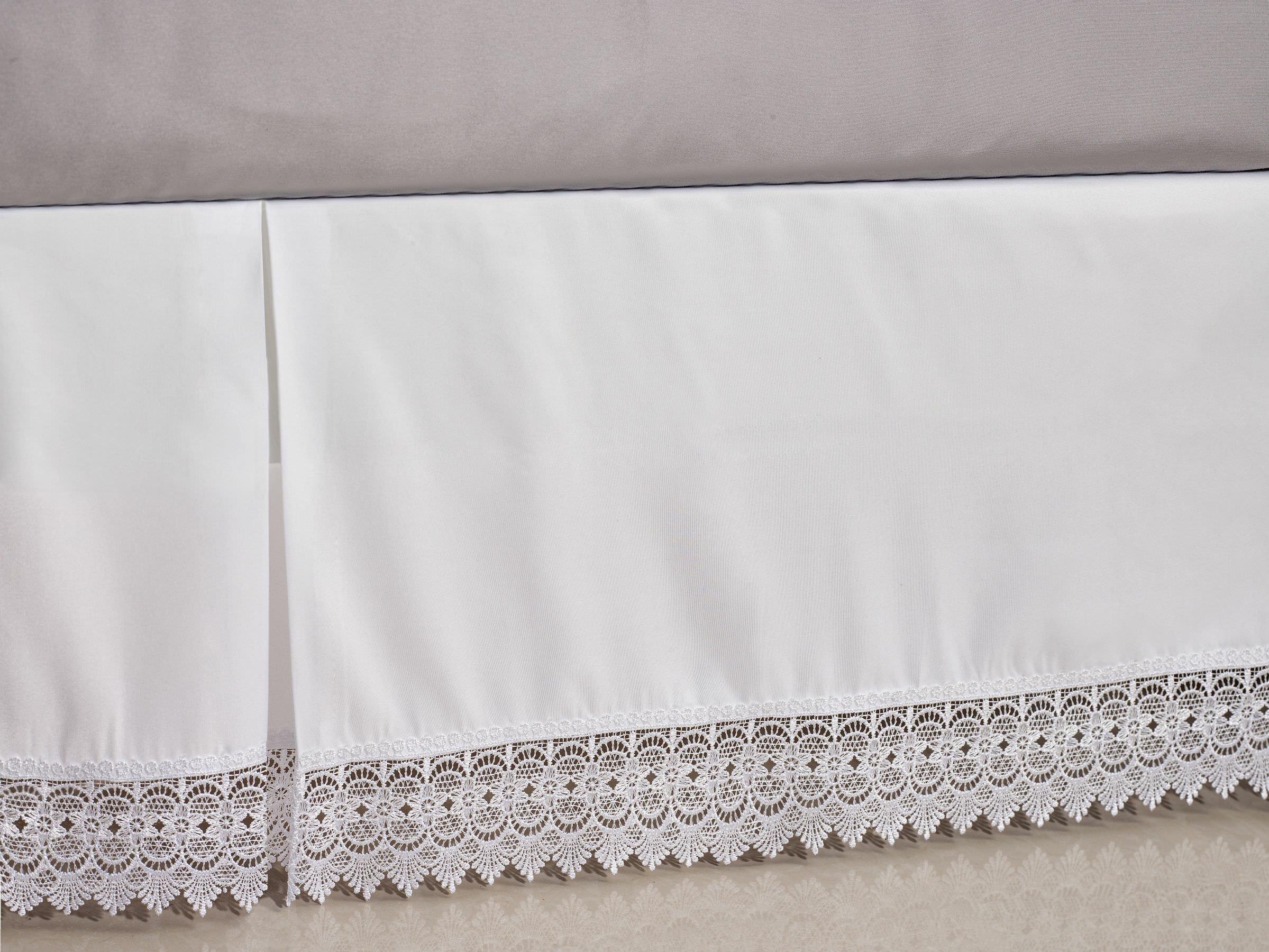 *Extra Drop Length Two Tone 100/% Cotton Split Corner Bed skirt White ~Ivory