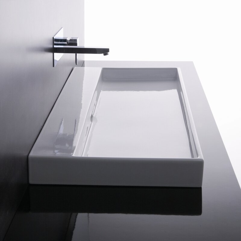 Ws Bath Collections Ceramica I Urban Ceramic Ceramic Rectangular Vessel Bathroom Sink With Overflow Reviews Wayfair