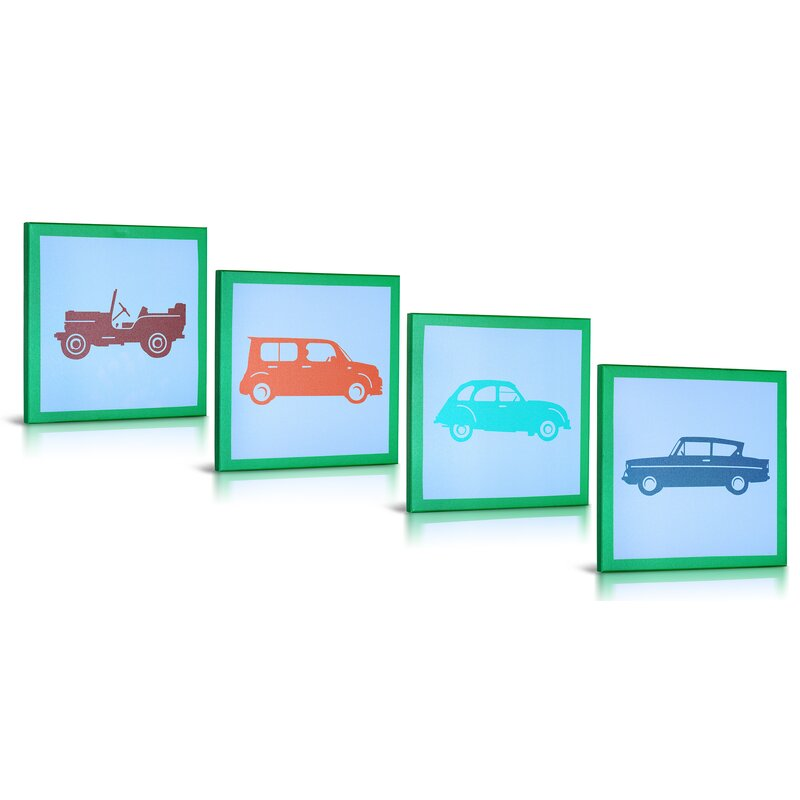 Green Frog Vintage Cars Gallery Wrapped Canvas Art Set Of 4 Wayfair
