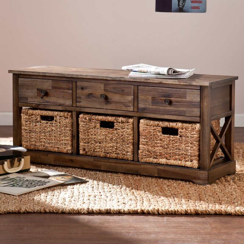 Halton Wood Storage Bench & Loon Peak Halton Wood Storage Bench u0026 Reviews | Wayfair