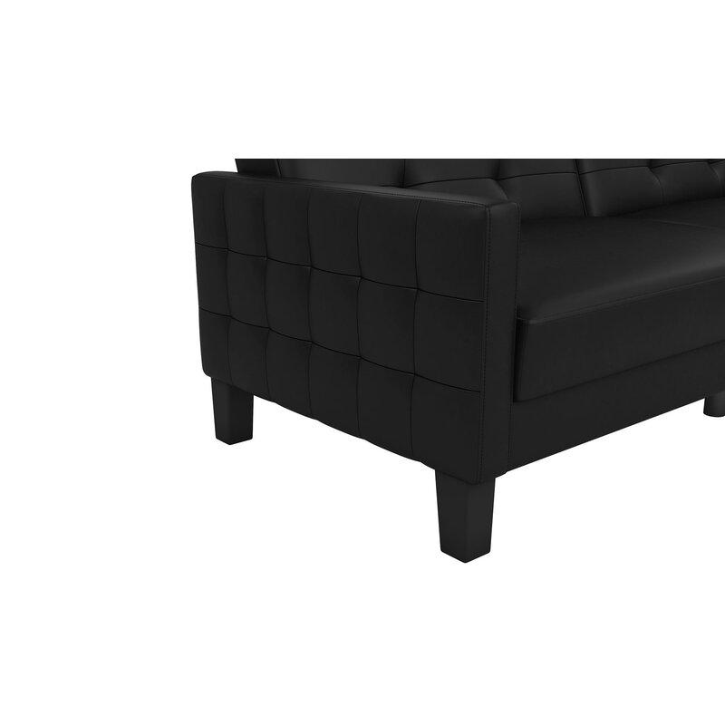 Ebern Designs Anabelle Faux Leather Convertible Sofa & Reviews | Wayfair
