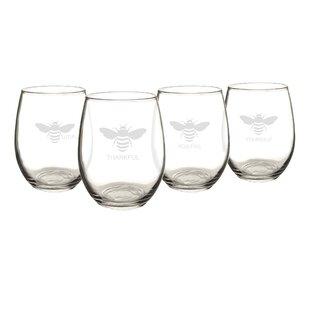 Thankful Bee 4-Piece 21 oz. Stemless Wine Glass Set (Set of 4)
