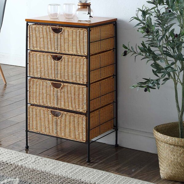Tall Brown Basket Storage Cabinet 5 Drawer Chest of Drawers Wicker Bathroom New