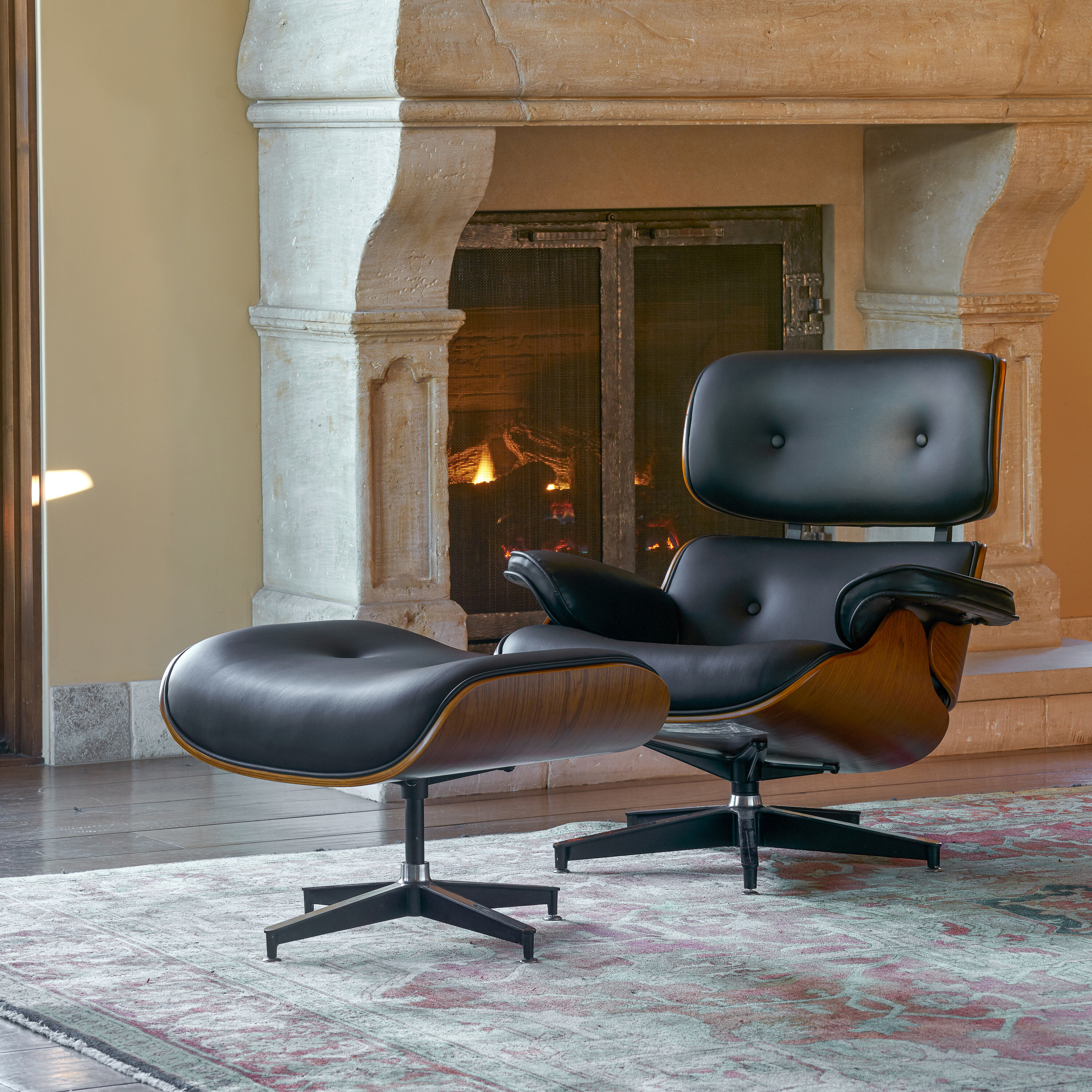 Faux Leather Chair And Ottoman | Wayfair