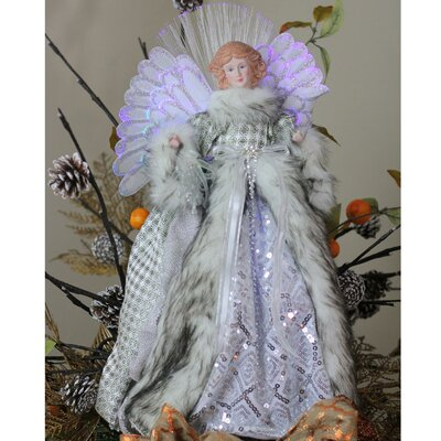 The Holiday Aisle Angel Christmas Tree Topper In Gingham Coat Wayfair