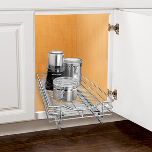 Roll Out Cabinet Organizer   Pull Out Drawer   Under Cabinet Sliding Shelf    14 Inch Wide X 18 Inch Deep   Chrome