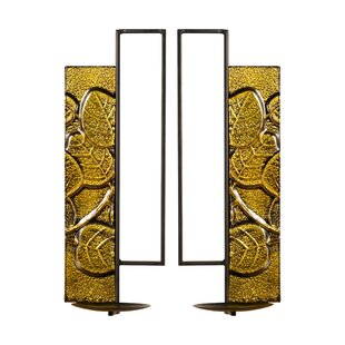 Pouliot Embossed Panel Pillar Metal Sconce Set (Set of 2)