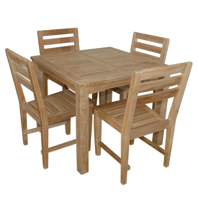 Bayou Breeze Kratz 5 Piece Teak Dining Set Wayfair