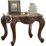 Sturdivant Marble Top With Motif Engraved Angular Wood Feet End Table by Astoria Grand